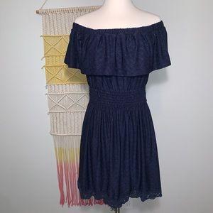 Dresses & Skirts - Boho off the shoulder navy blue lace dress
